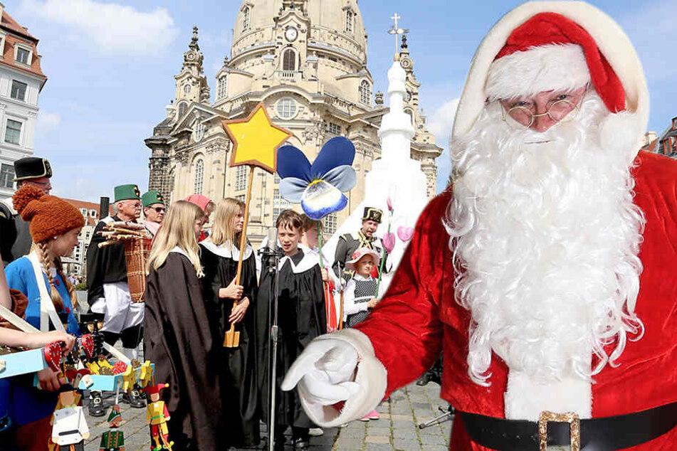 Volles Programm: Die Seiffener Männelmacher warben am Freitag auf dem Neumarkt in Dresden für die schönste Zeit des Jahres - die Weihnachtszeit.