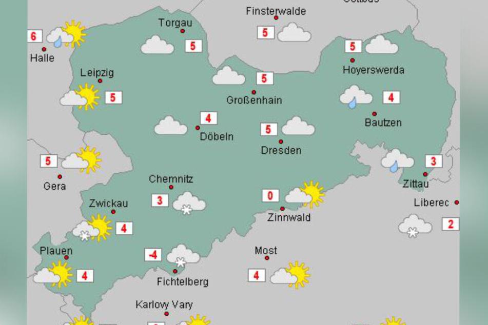 Die Temperaturen am Samstag.