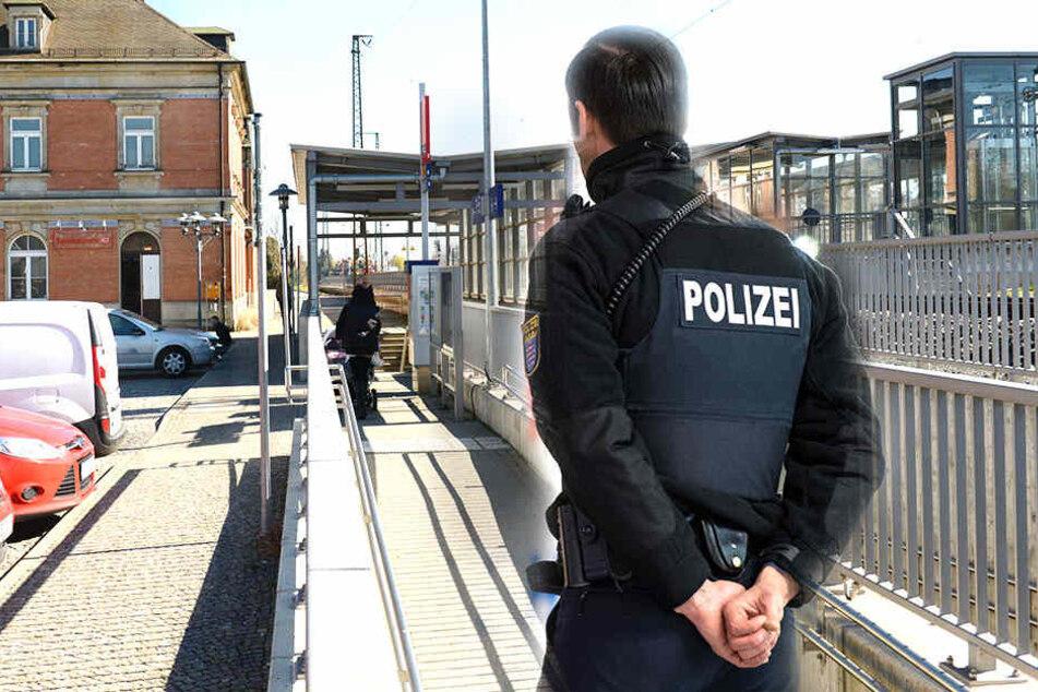 Am Bahnhof Coswig kam es zu einer Auseinandersetzung, bei der ein Mann eine schwere Wunde erlitt (Bildmontage).