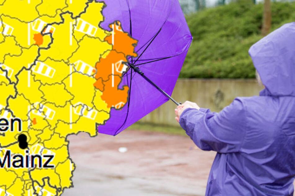 Für Osthessen gilt eine Wetterwarnung der Stufe 2 (orangene Farbe).