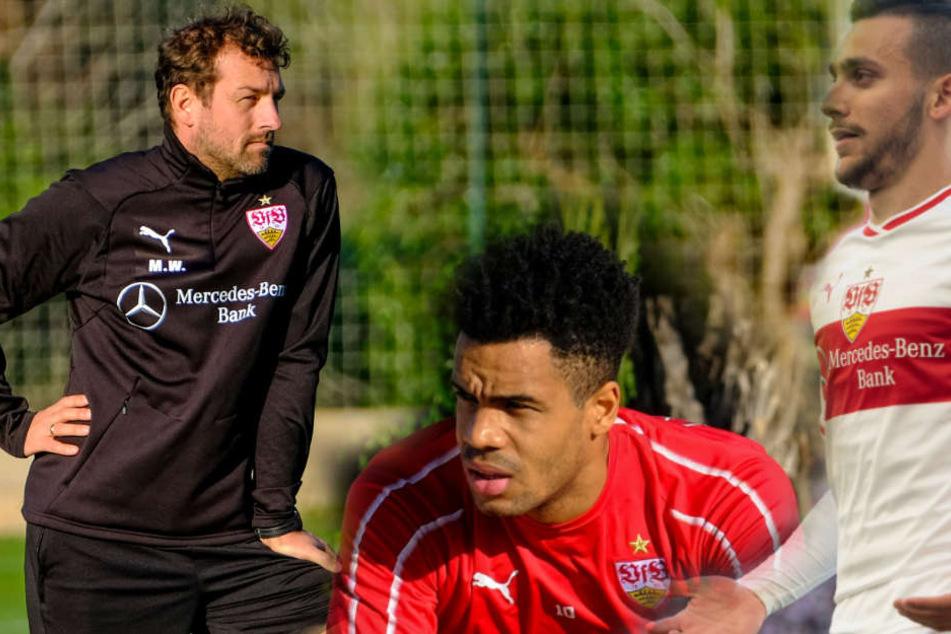 Nach der Suspendierung von Anastasios Donis (r.): Didavi (m.) lobt VfB-Coach Weinzierl für straffere Führung.