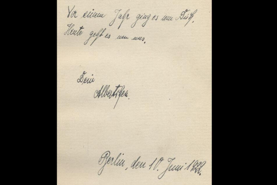 """Auf lootedculturalassets.de finden sich viele Funde der Forscher """"Vor einem Jahr ging es um Dich. Heute geht es um uns. Dein Albertchen. Berlin, den 10. Juni 1922"""""""