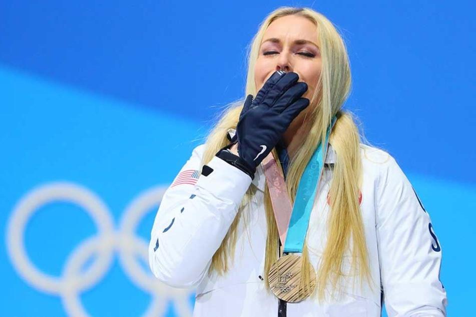 Lindsey Vonn gewann bei den Winterspielen in Südkorea die Bronzemedaille in der Abfahrt.