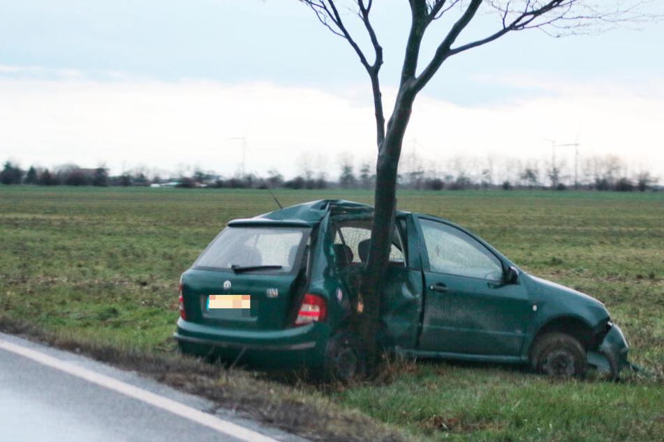 Der Wagen kam nach rechts von der Fahrbahn ab und krachte gegen einen Baum.
