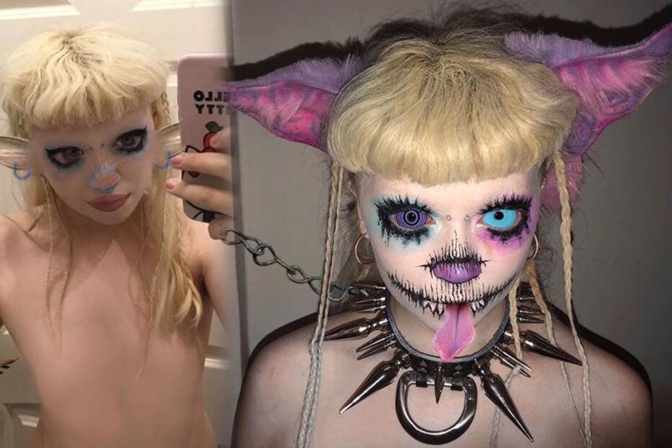 Diese Frau verwandelt sich regelmäßig in einen geschlechtslosen Alien