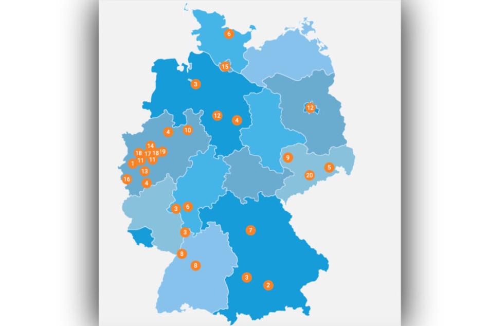 Diese Deutschlandkarte zeigt die Ergebnisse der Ergebung: Mönchengladbach liegt auf Platz 1 der familienfreundlichsten Städte, Chemnitz auf Platz 20.