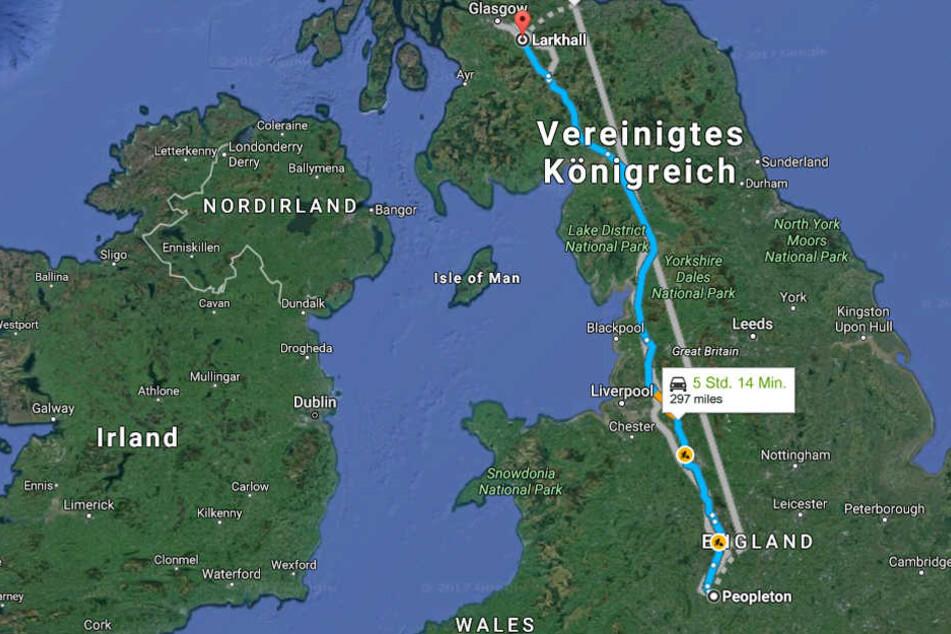 Stundenlang brauste sie aus ihrem Heimatort Peopleton bis ins schottische Larkhall.