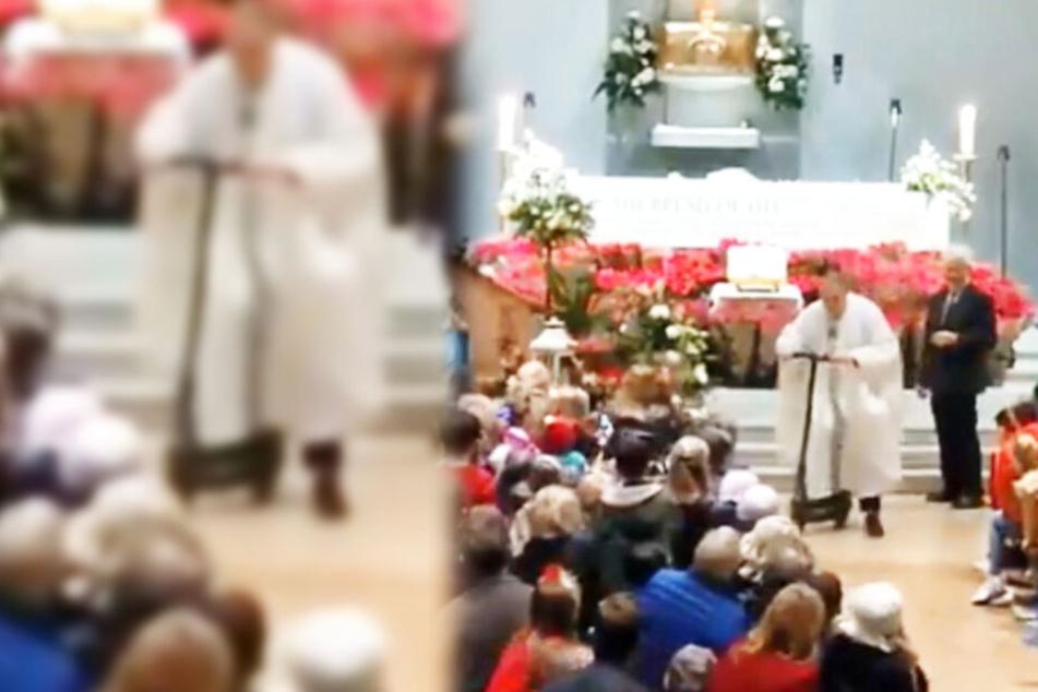 Pastor rast nach Weihnachts-Messe in Kirche mit E-Roller davon