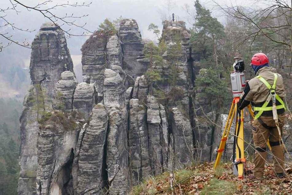 Der verwendete Laserscanner ermöglicht eine schnelle räumliche Erfassung der Felsbereiche.