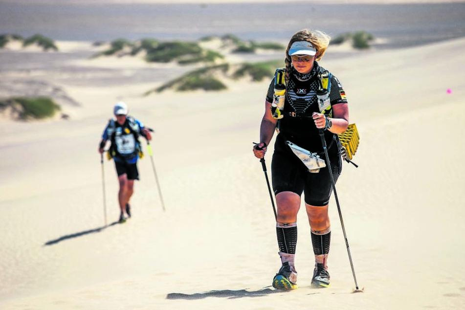 Antje Wensel wog knapp 100 Kilo bei 1,75 Meter Körpergröße, bevor sie an den Start des Sahara-Race ging. Ärzte hatten ihr wegen ihrer Krankheit vom Lauf abgeraten.