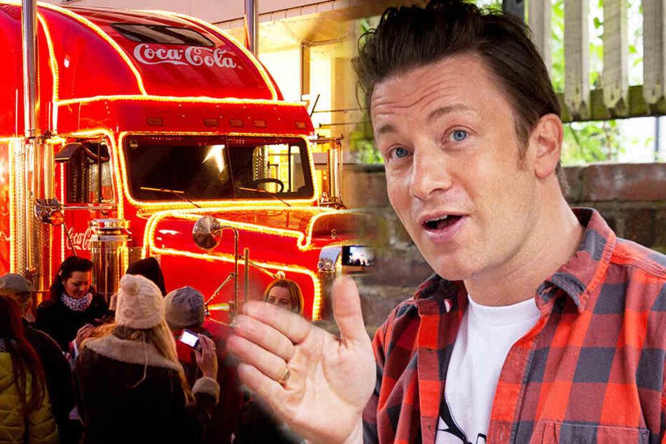 Starkoch Jamie Oliver fordert Cola auf, statt zuckerhaltiger Getränke Wasser zu verteilen.