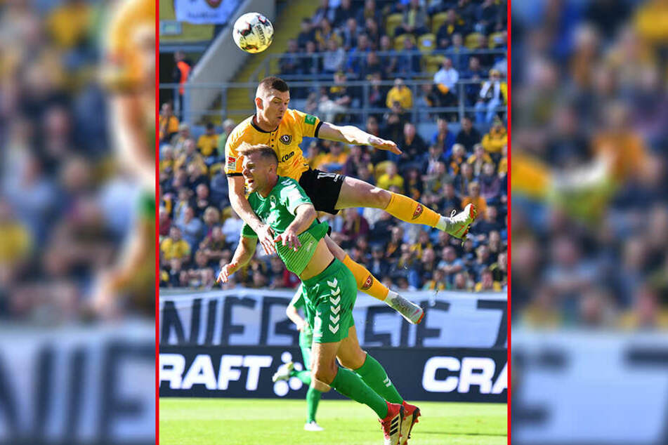 Zwar lag Haris Duljevic (o.) beim Hinspiel in der Luft obenauf, doch Richard Magyar gewann mit Fürth die Partie. Am heutigen Donnerstag will Dynamo Revanche fürs 0:1.