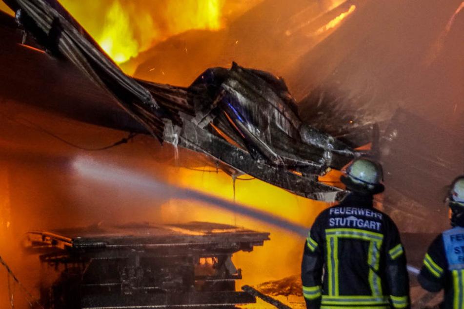 Die Lagerhalle wurde bei dem Feuer völlig zerstört.