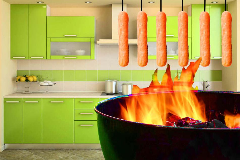 Als die Feuerwehr in Baumheide eintraf, fanden sie in der Küche einer vermeintlich brennenden Wohnung Würstchen an der Decke vor. Darunter stand ein Grill, der sie wohl räuchern sollte.