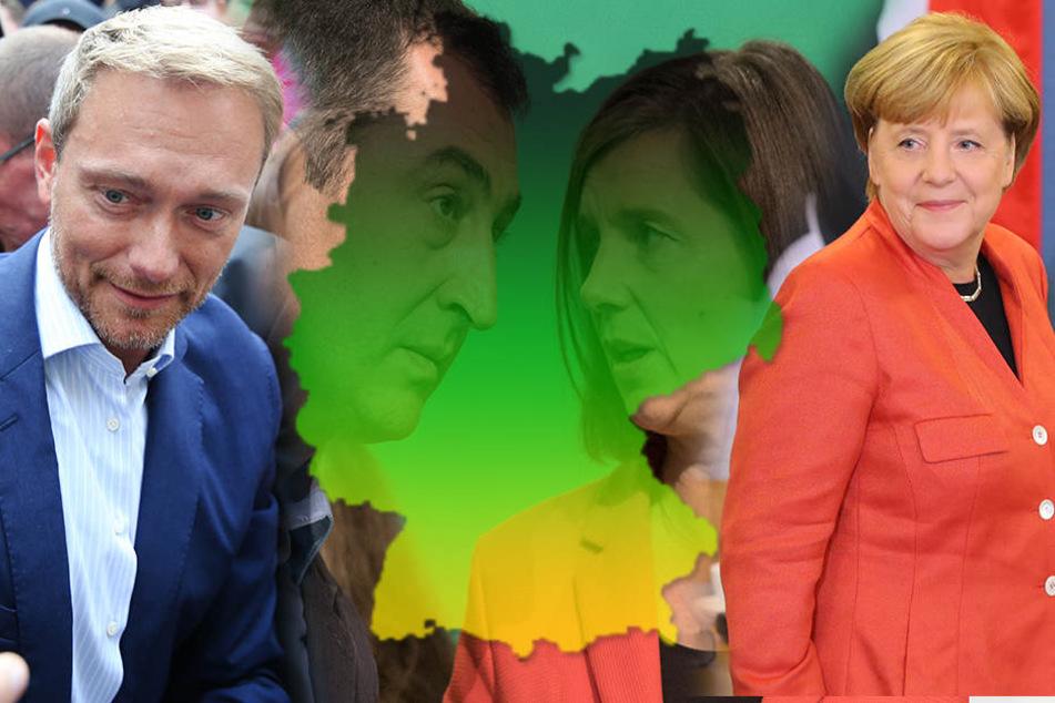 Regiert Angela Merkel (re.) bald mit Christian Lindner (li.), Cem Özdemir und Katrin Göring-Eckardt?