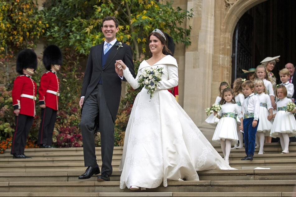 Die britische Prinzessin Eugenie (30) und Jack Brooksbank (35) bei ihrer Hochzeit im Oktober 2018. Das royale Paar hat einen Jungen bekommen.