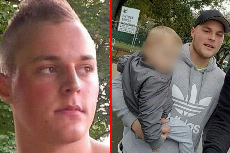 Der gesuchte Dominik Riedl. Rechts mit Sohn Luca auf einem Bild, das während der Flucht entstanden ist.