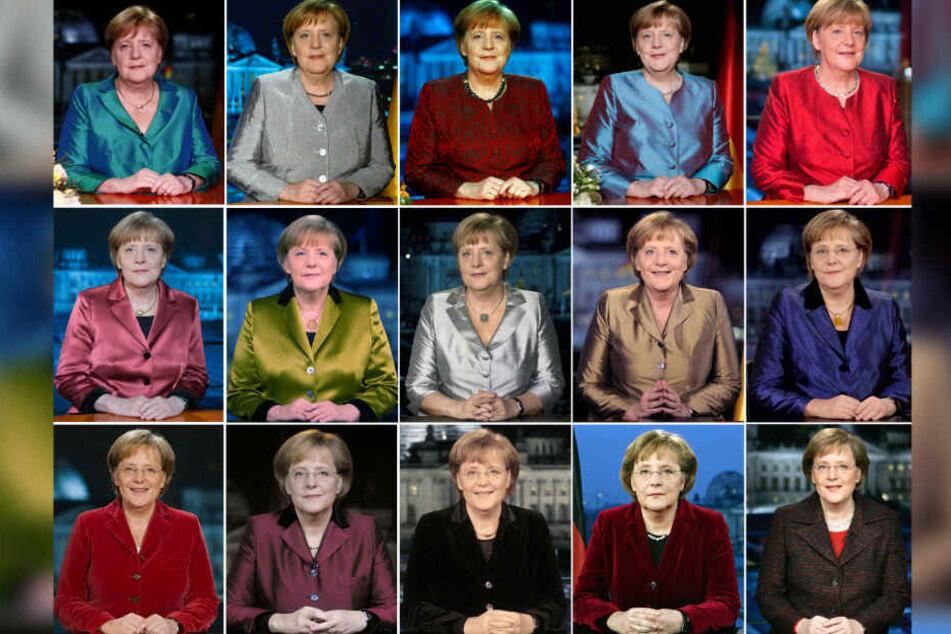 Von 2005 (rechts unten) bis 2019 (links oben): Angela Merkel bei ihrer Neujahrsansprache.