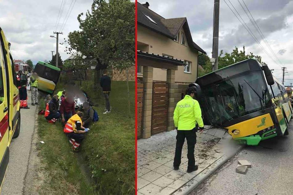 Von der Polizei veröffentlichte Fotos zeigen den schwer beschädigten Linienbus.