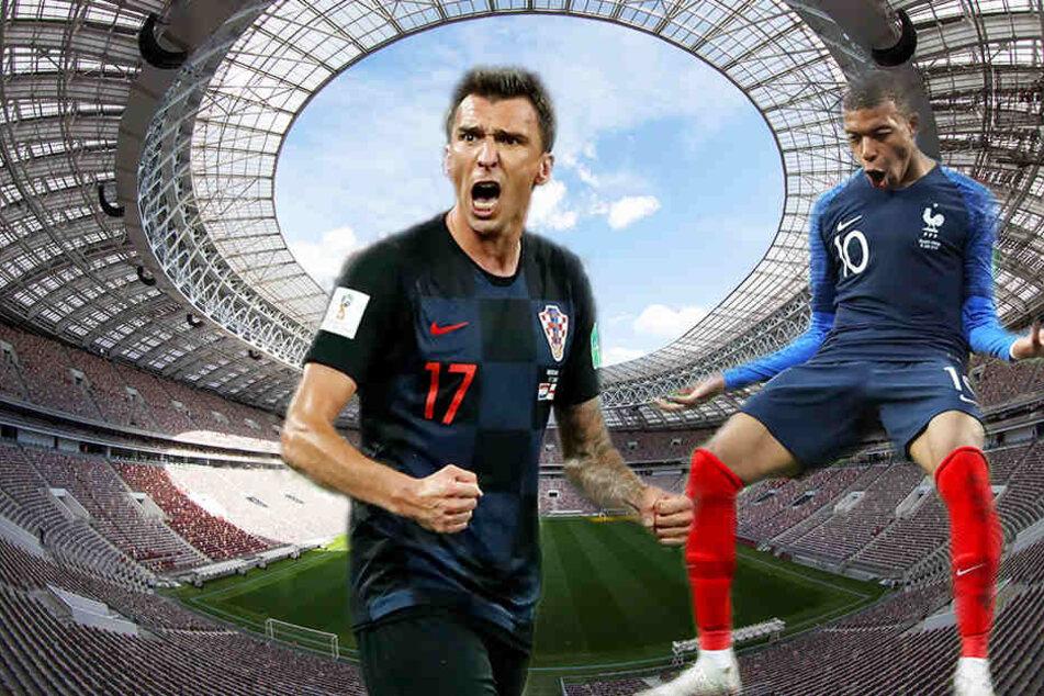 Beide entschieden das Spiel: Kroatiens Mario Mandzukic (l.) traf einmal ins eigene und einmal ins gegnerische Tor, Frankreichs Kylian Mbappé (r.) sorgte mit seinem zwischenzeitlichen 1:4 für die Entscheidung.