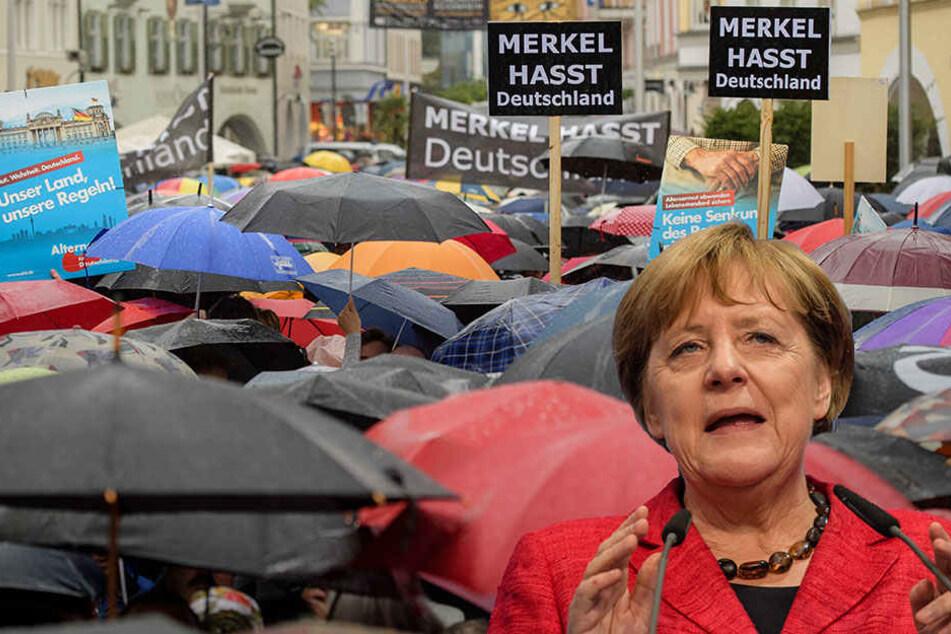 Bei einer Kundgebung in Rosenheim wurde ein Auftritt Angela Merkels auch von AfD-Leuten gestört.