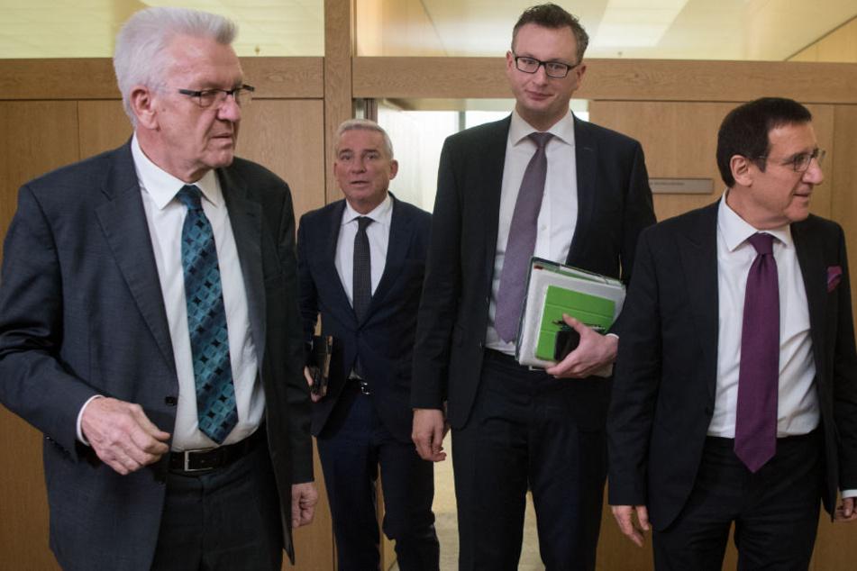 Wegen des Reform-Zoffs gab es am 24. Januar ein Spitzentreffen von (v.l.):  Ministerpräsident Winfired Kretschmann, Innenminister Thomas Strobl, Grünen-Fraktionschef Andreas Schwarz und CDU-Fraktionsvorsitzendem Wolfgang Reinhart.