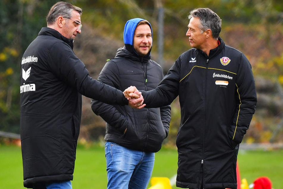 Sport-Geschäftsführer Ralf Minge (v.l.), Pressesprecher Henry Buschmann und Ex-Trainer Uwe Neuhaus.