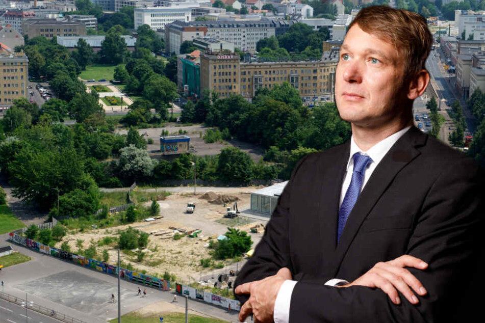 AdP-Politiker André Poggenburg (43) wird am Dienstag mit dem Wilhelm-Leuschner-Platz als Veranstaltungsort vorlieb nehmen müssen. (Bildmontage)