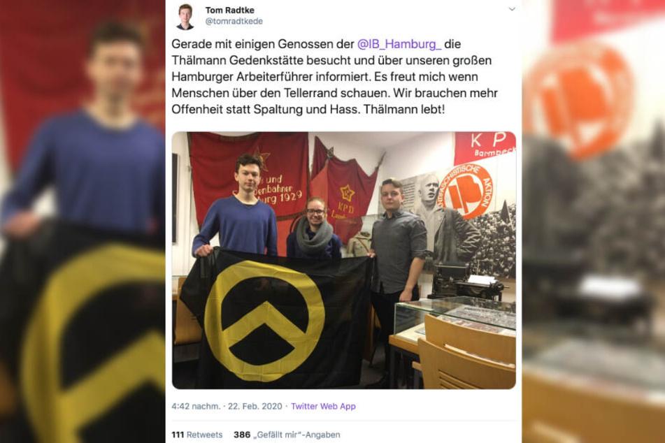 Tom Radtke teilte auf Twitter das Foto eines gemeinsamen Ausflugs mit Mitgliedern der rechtsextremen Identitären Bewegung.