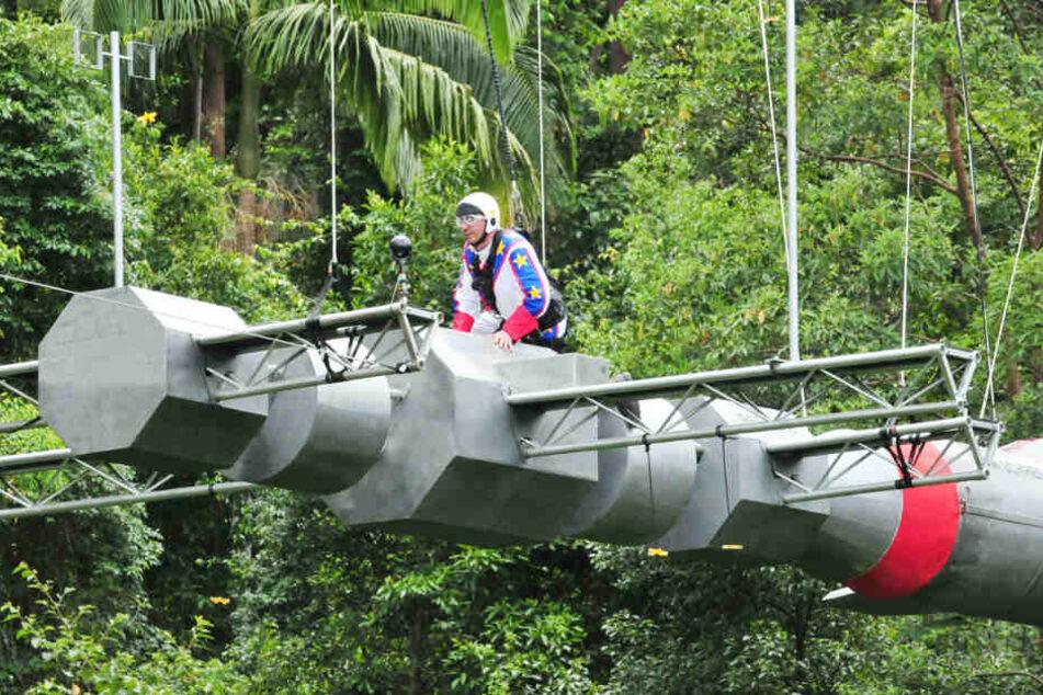 Für ihn ging es hoch hinaus: Mecker-Matthias musste bei Prüfung 6 an Tag 6 seine Höhenangst überwinden.