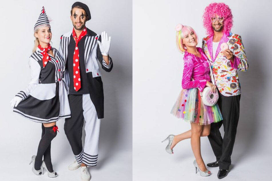 Die Kostüme Pantomime (li.) und Candy sind 2018 recht angesagt.