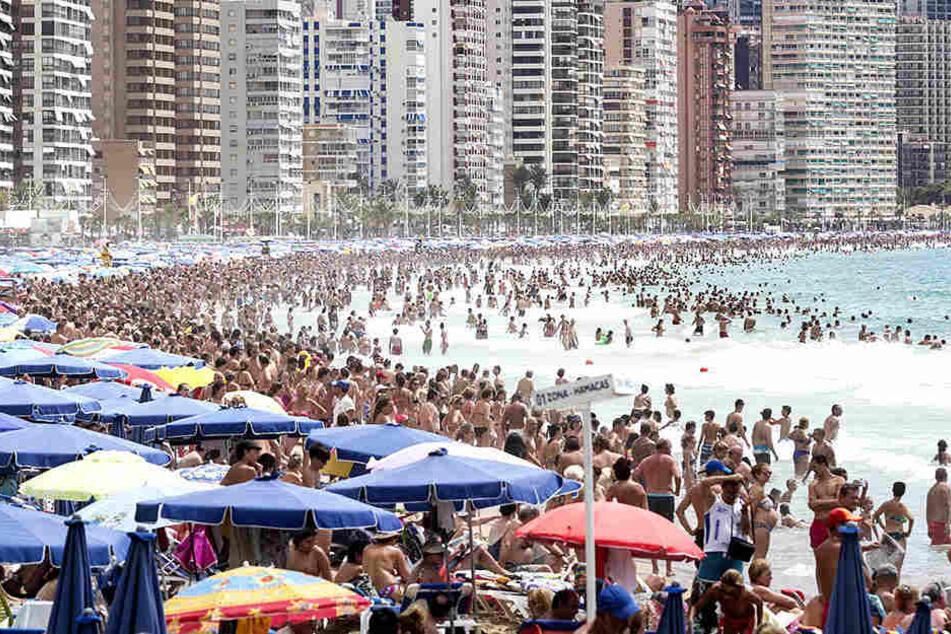 Touristen, wohin das Auge reicht. Doch im Moment darf am Strand von Alicante gar nicht gebadet werden.