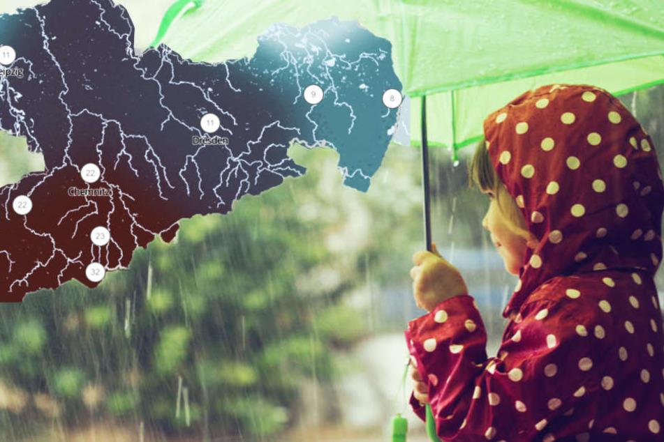 Ekel-Wetter am Wochenende: Sachsen, spann den Regenschirm auf!