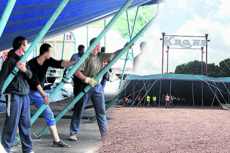 Dafür braucht's ordentlich Kraft: Die Aufbauhelfer müssen das Zelt mit  Stangen aufrichten.
