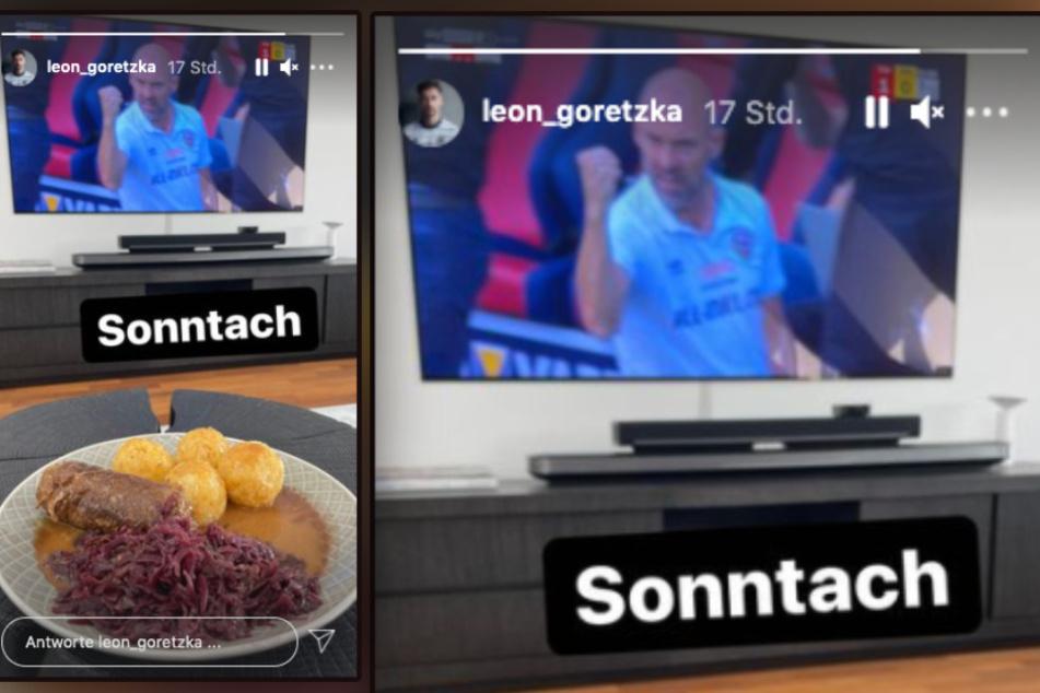"""Leon Goretzka (26) postete am """"Sonntach"""" seine Mittagsbeschäftigung. Roulade mit Rotkraut und Knödeln und dazu die SG Dynamo Dresden und die 2. Liga."""