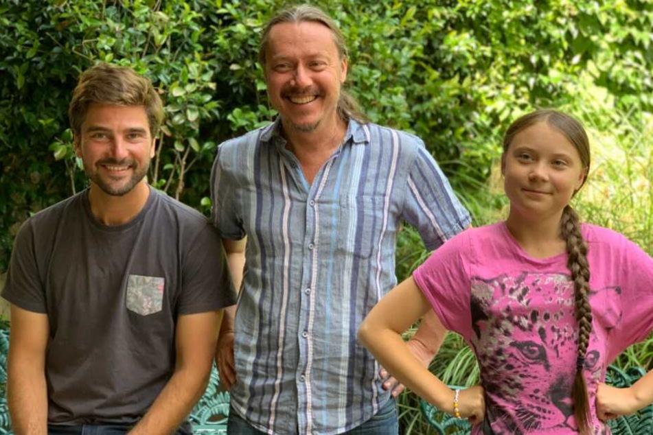 Greta Thunberg (r-l) begibt sich mit ihrem Vater Svante Thunberg und Boris Herrmann auf große Reise.