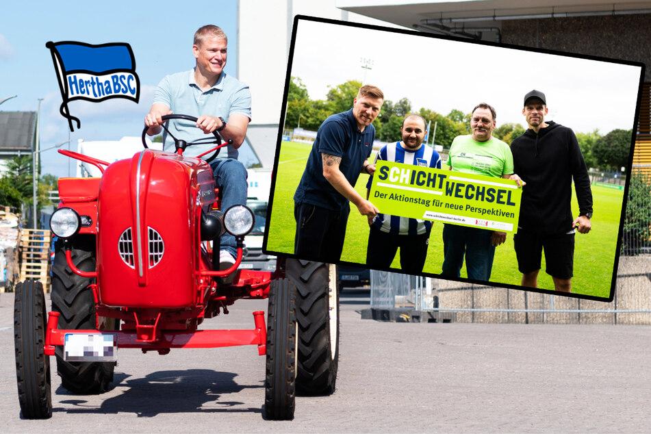 Darum tuckern Hertha-Verantwortliche mit einem Traktor durch die Gegend