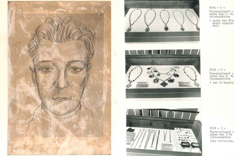 Links: Diesen Verdächtigen sah ein Polizist 1977 am Tatort, bis heute wurde er nicht  geschnappt. Rechts: Teile der Kette (m.) sind noch heute verschwunden.