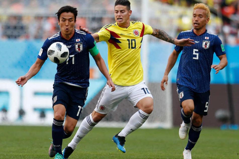 James Rodríguez (M.) trat bei der WM in Russland mit Kolumbien an.