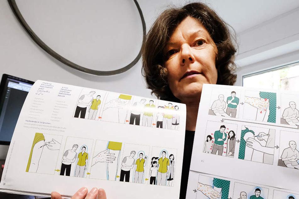 Christina Heiligensetzer beschuldigt das Sozialministerium Sachsen, die vom Verein entwickelte Bildgeschichte (l.) abgekupfert zu haben.