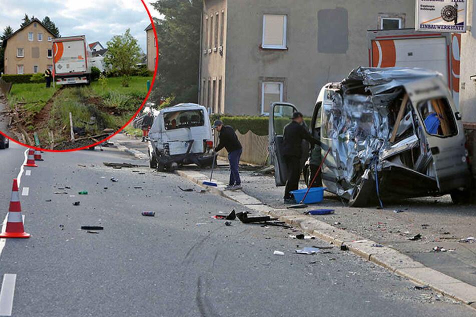 Laster-Crash in Chemnitz hinterlässt Trümmerfeld: Vollsperrung!