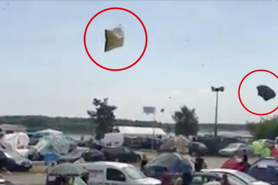 Krasses Video! Zelte beim Sputnik-Festival durch die Luft gewirbelt