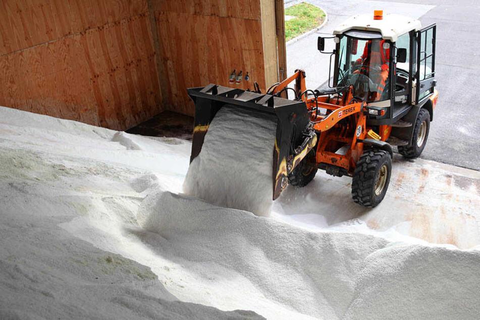 Derzeit füllen Sachsens Autobahnmeister wieder die Salzlager. Noch weiß niemand, wie hart der kommende Winter wird.