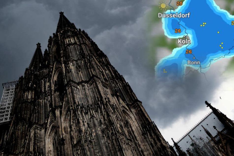 Auch in Köln kann es am Samstagnachmittag zu heftigen Gewittern kommen.
