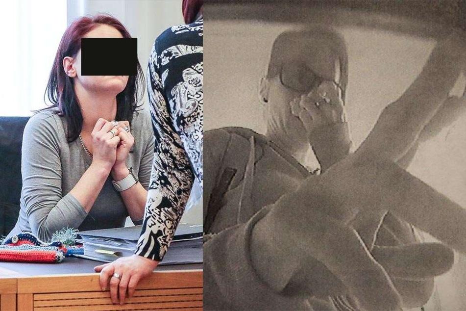 Im Prozess am Montag gestand Sandra S. (31) ihre Taten. re.: Auf den Überwachungsbildern der Geldautomaten war sie trotz verdecktem  Gesicht zu erkennen. So trug sie Ringe, die sie auch noch im Prozess am Finger hatte.