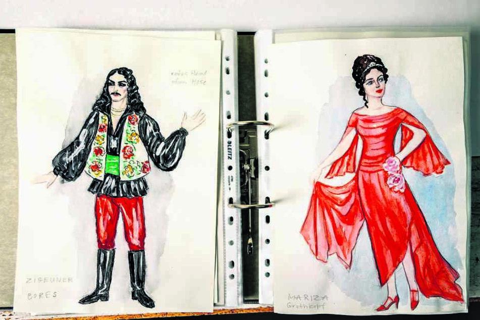 """Die Entwürfe für die Kalman-Operette """"Gräfin Mariza"""" sind selbst kleine Kunstwerke."""