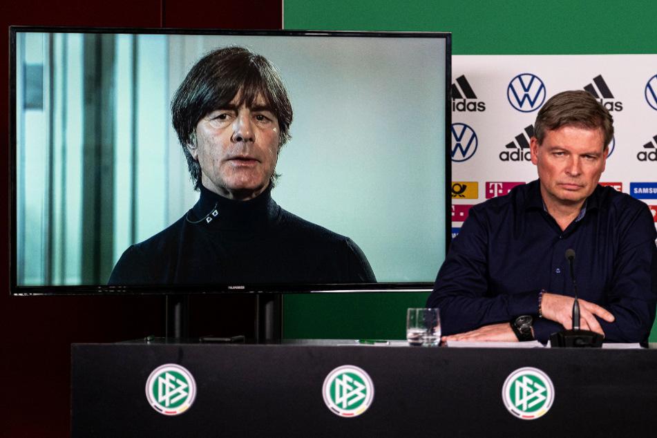 Joachim Löw wurde bei der Pressekonferenz aus Freiburg zugeschaltet.
