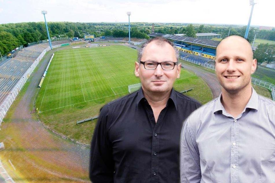 Die beiden Vorstandsmitglieder Thomas Löwe (l.) und Stephan Guth haben den Fans einen Überblick über die aktuellen Baupläne gegeben.