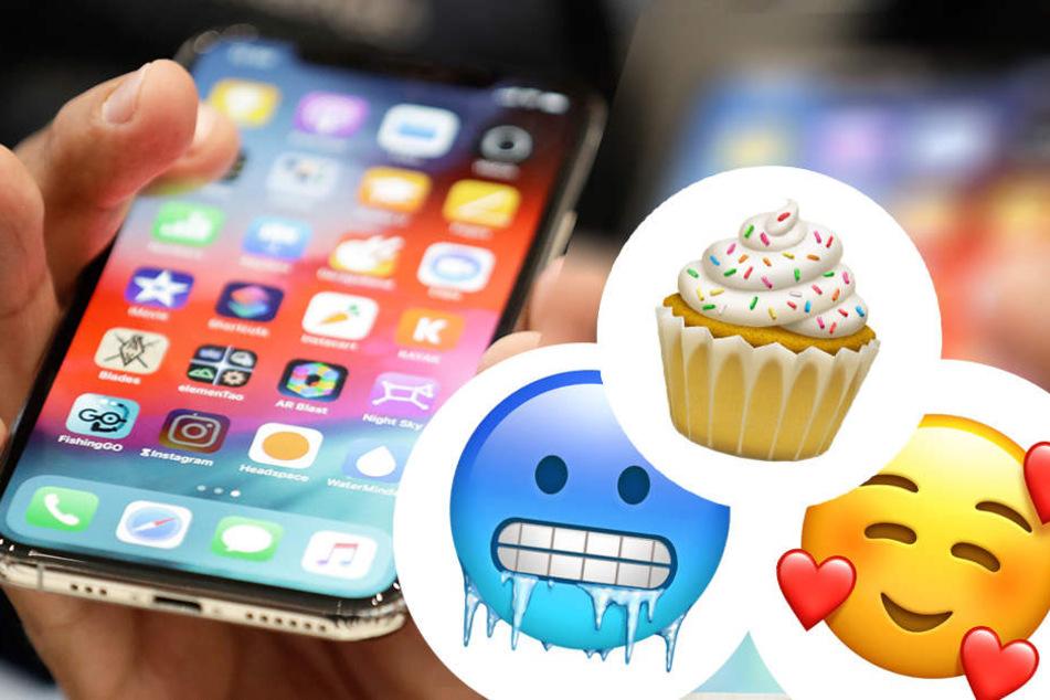 """70 neue Emojis gibt es mit dem neuen iPhone-Update. Mit dabei es frierendes Gesicht, ein Cupcake und das Emoji """"geliebt""""."""