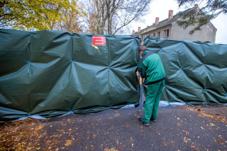 Ein Mitarbeiter schließt den mit einer Schutzplane abgehängten Außenzaun nach dem Vogelgrippe-Ausbruch im Gut Eschenhörn. In zwei Betrieben mussten insgesamt 67.000 Hennen getötet und entsorgt werden.